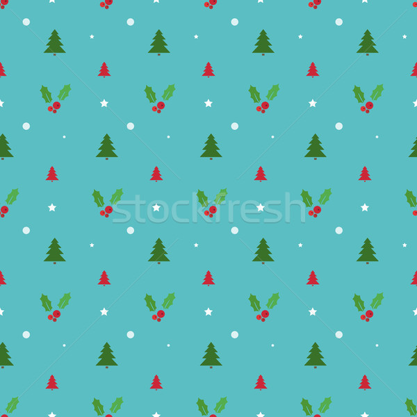 Christmas seamless pattern with trees, snowflakes and holly Stock photo © Imaagio