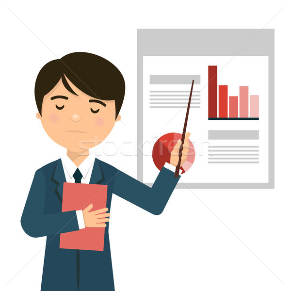 Worried businessman in a business presentation with negative statistics Stock photo © Imaagio