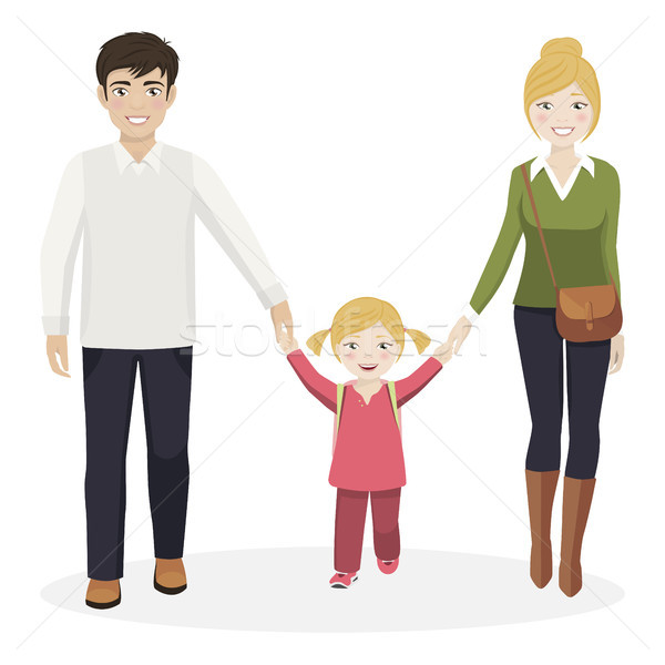 Girl with her parents walking to school Stock photo © Imaagio