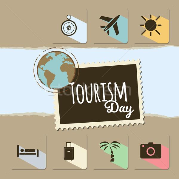 Wereld toerisme dag kaart bruin wereldbol Stockfoto © Imaagio