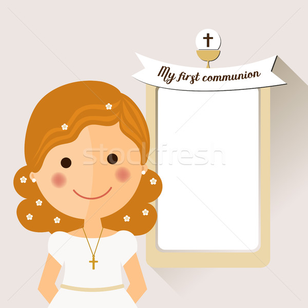 My first communion invitation with foreground girl Stock photo © Imaagio