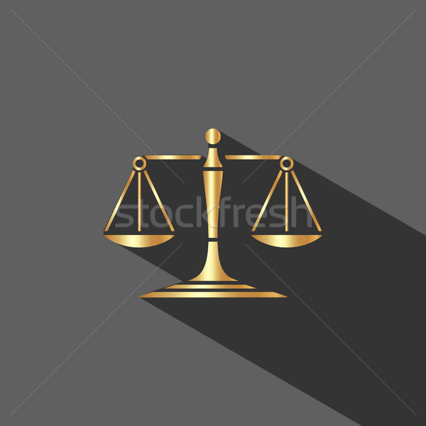 Golden scales of justice icon with shadow on dark background Stock photo © Imaagio