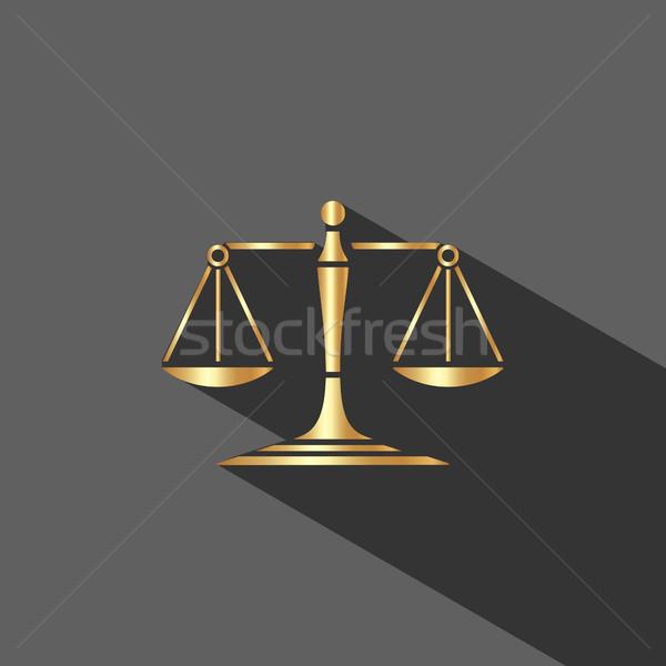 Or échelles justice icône ombre sombre Photo stock © Imaagio