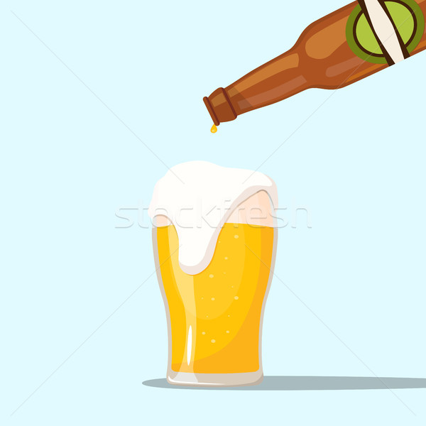 Serving a beer on a blue background Stock photo © Imaagio