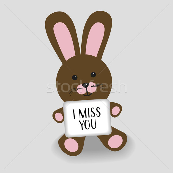 Pink bunny with message I miss you Stock photo © Imaagio