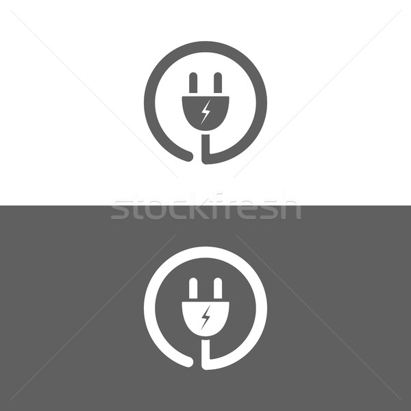 Plug icon on a white and dark background Stock photo © Imaagio