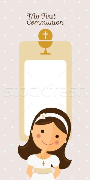 Enyém elsőáldozás függőleges meghívó üzenet lány Stock fotó © Imaagio