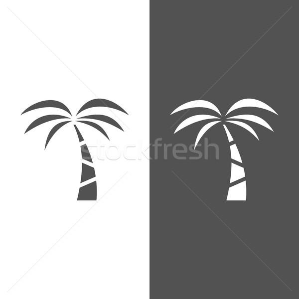 Palmeira ícone preto e branco árvore paisagem mar Foto stock © Imaagio