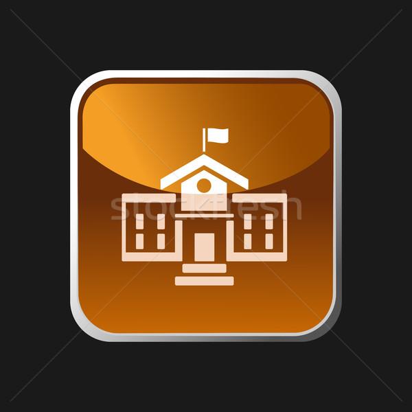 School building icon on a square button Stock photo © Imaagio