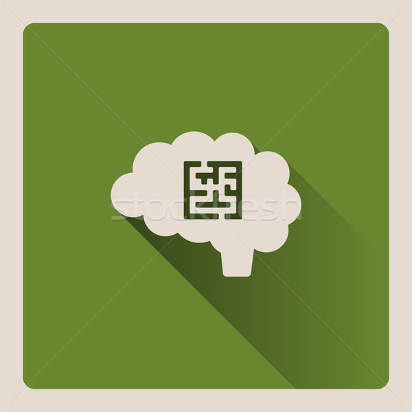 Brain looking for a problem illustration on green background with shade Stock photo © Imaagio
