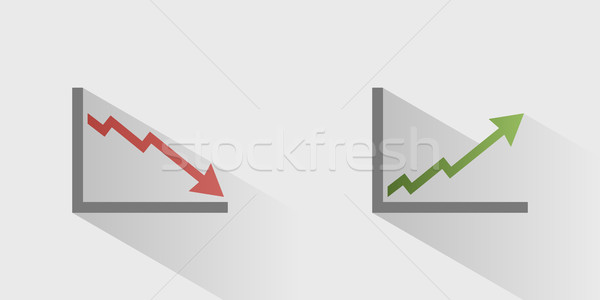Gráfico iconos sombra gris financiar mercado Foto stock © Imaagio