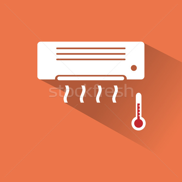 Air conditioner icon with hot air Stock photo © Imaagio
