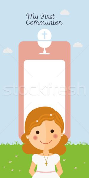 Girl communion with message Stock photo © Imaagio