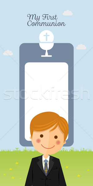 Child costume in her first communion dress vertical invitation with message  Stock photo © Imaagio