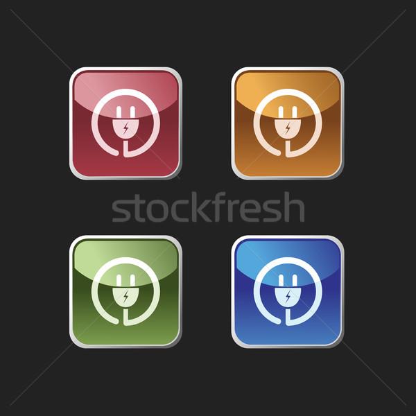 Plugue ícone praça botões projeto Foto stock © Imaagio
