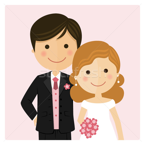 Illustration of happy just married on their wedding day and pink background Stock photo © Imaagio