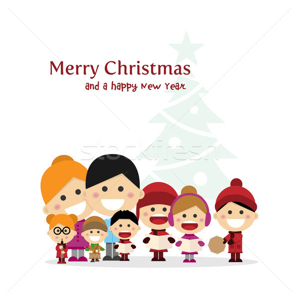 Cute family singing carols at Christmas Night with tree background Stock photo © Imaagio