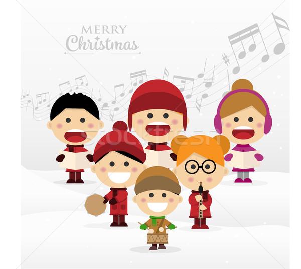 Group of children singing Christmas carols Stock photo © Imaagio