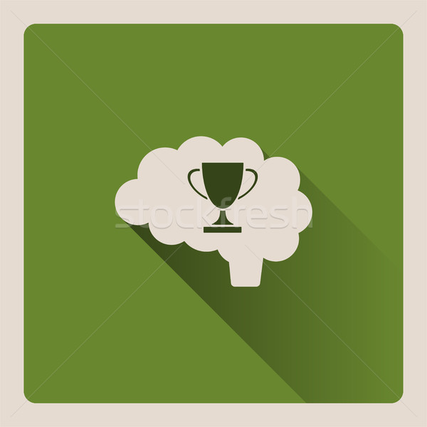 Brain thinking of victory illustration on green background with shade Stock photo © Imaagio