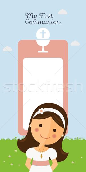 Enyém elsőáldozás függőleges meghívó kék ég lány Stock fotó © Imaagio