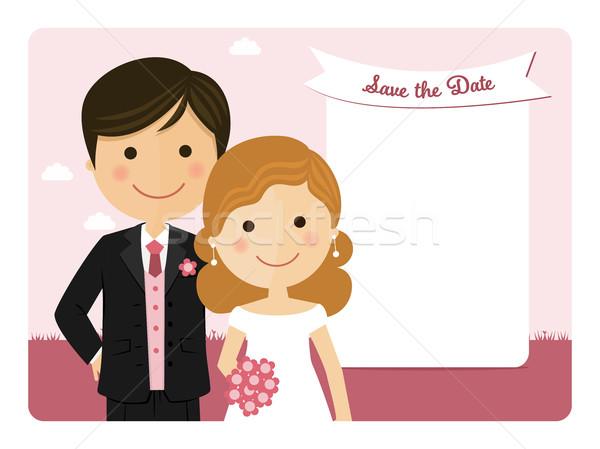 漫画 結婚式招待状 ピンク 空 結婚式 幸せ ストックフォト © Imaagio