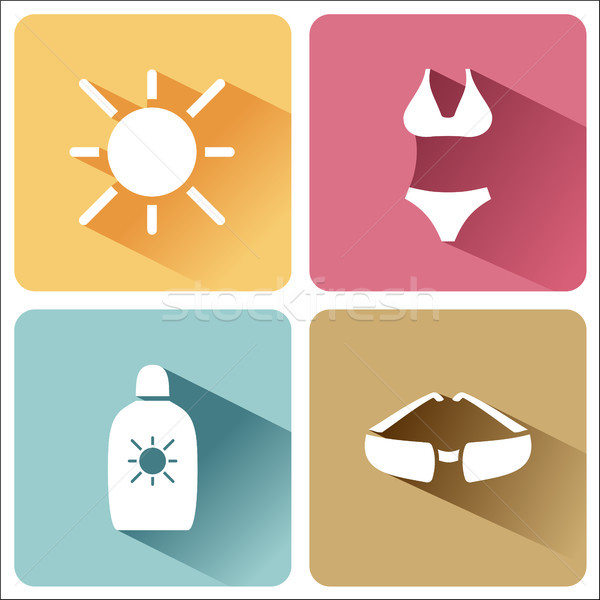 Four summer and tourism icons set with shade. Third group Stock photo © Imaagio