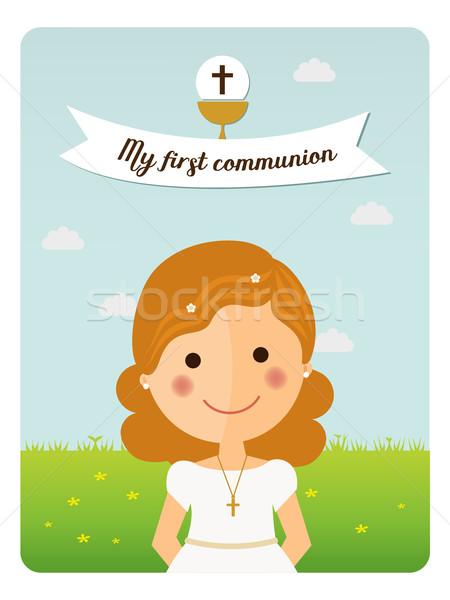 My first communion reminder with foreground girl  Stock photo © Imaagio