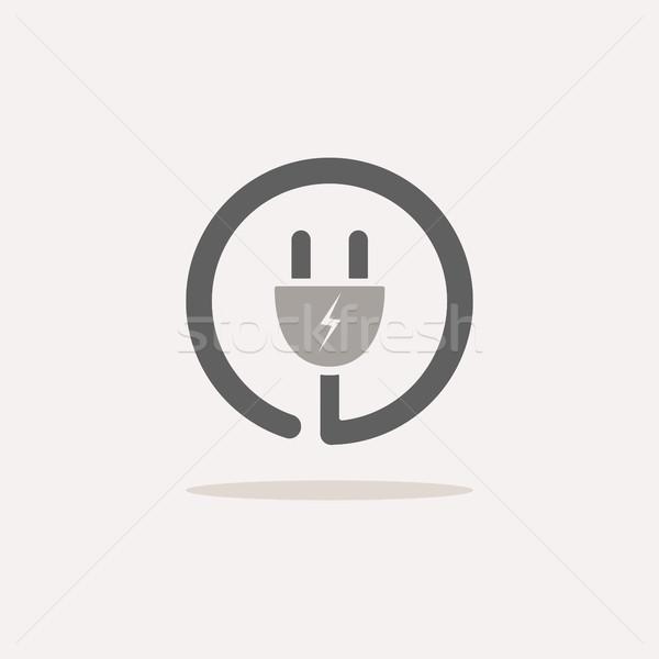 Plug icono sombra beige diseno signo Foto stock © Imaagio