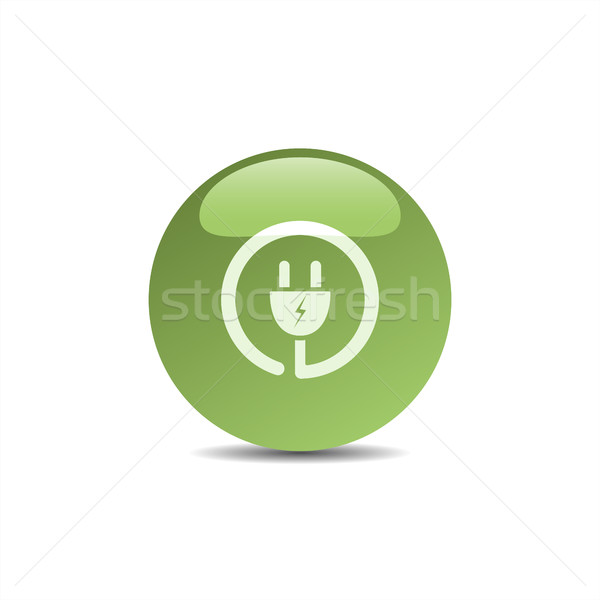 Plug икона зеленый пузыря дизайна знак Сток-фото © Imaagio