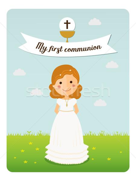 Benim ilk communion hatırlatma kıvırcık saçlı kız mavi gökyüzü Stok fotoğraf © Imaagio