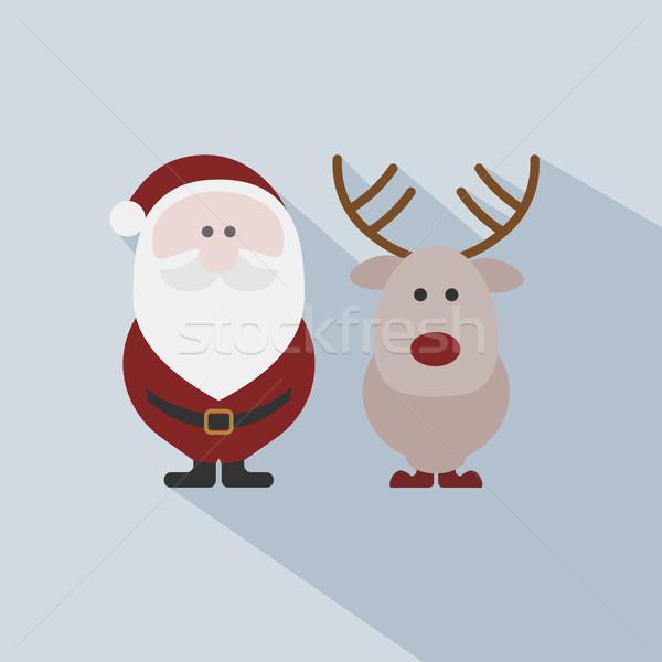 Papá noel reno gris diseno Navidad vacaciones Foto stock © Imaagio
