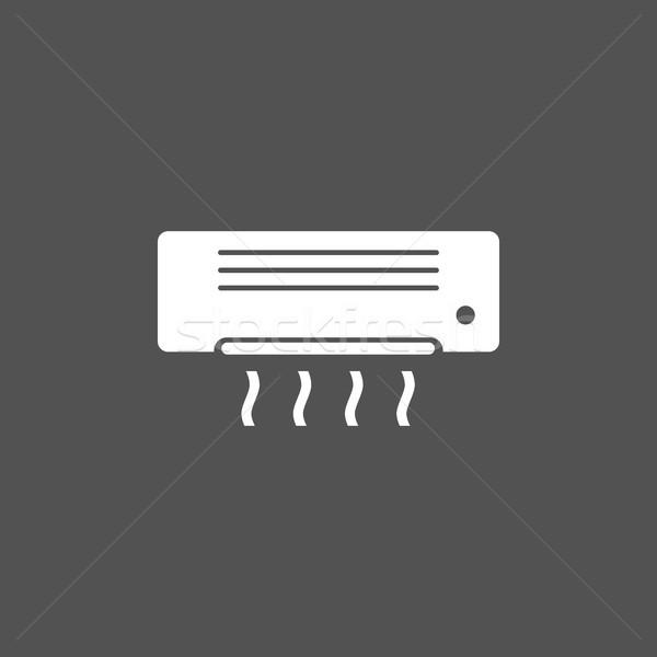 Airconditioning icon donkere muur technologie zomer Stockfoto © Imaagio