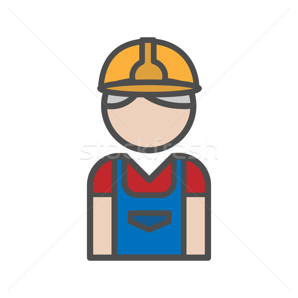Albañil icono uniforme blanco diseno trabajador Foto stock © Imaagio