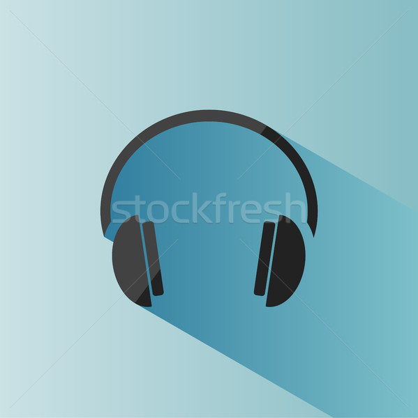 Headphones icon on a blue background with shade Stock photo © Imaagio
