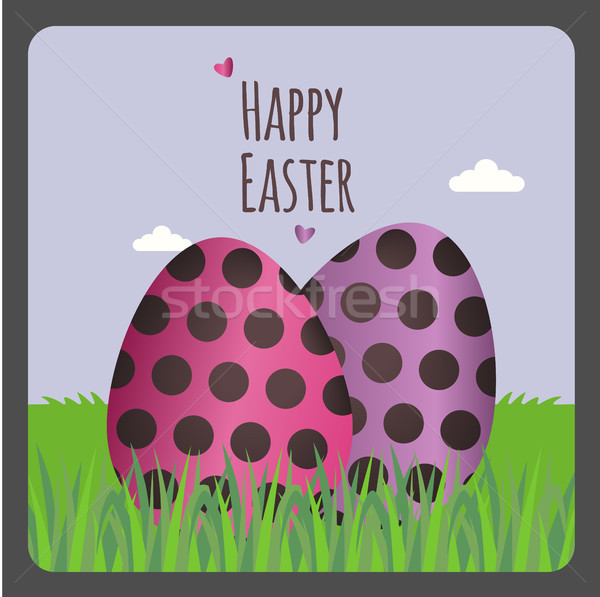Христос воскрес два яйца счастливым дизайна Сток-фото © Imaagio