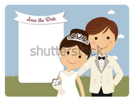 Stílus pár előtér kék esküvő boldog Stock fotó © Imaagio
