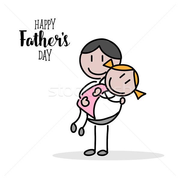 Feliz dia dos pais mão ilustração branco família fundo Foto stock © Imaagio