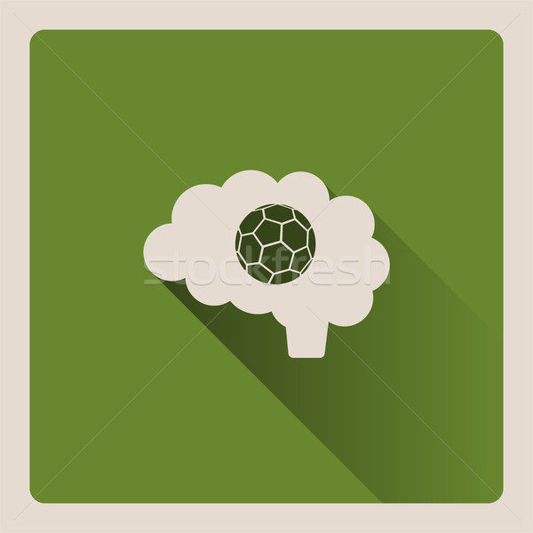 Brain thinking in the football illustration on green background with shade Stock photo © Imaagio