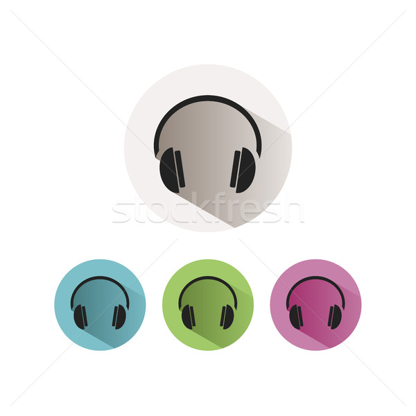 Headphones icon on colored buttons and white background Stock photo © Imaagio