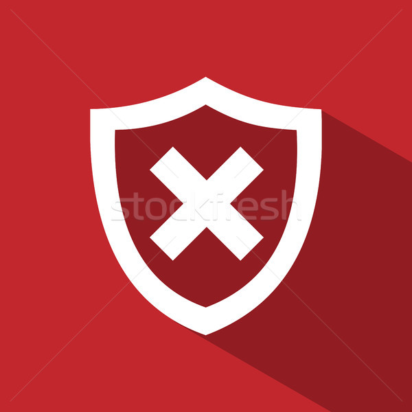 Unprotected shield icon with shade on a red background Stock photo © Imaagio