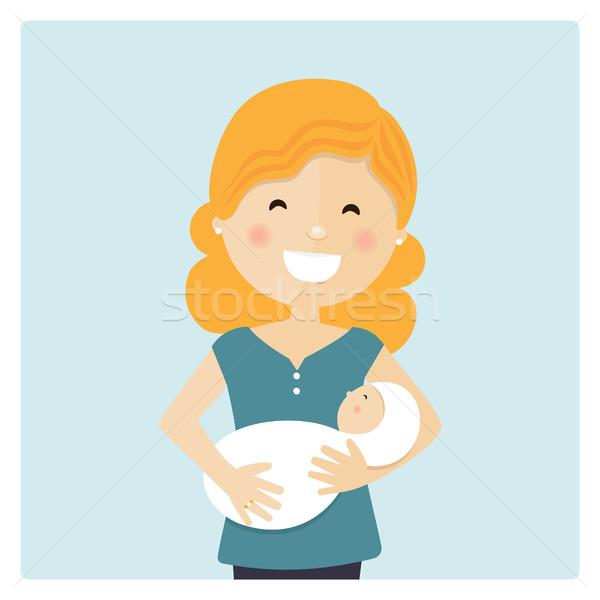 Heureux maman soins bébé bleu Photo stock © Imaagio