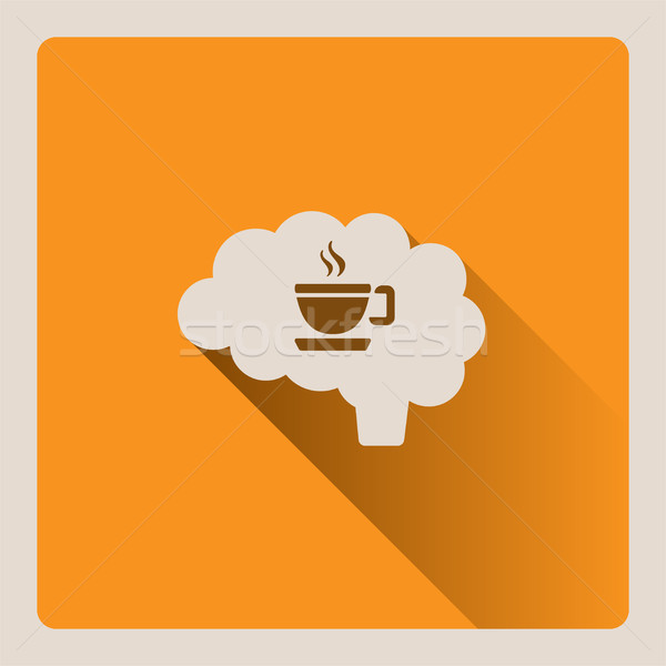 Brain thinking of a cup of coffee illustration on yellow background with shade Stock photo © Imaagio