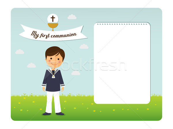 First communion child invitation on blue sky background Stock photo © Imaagio