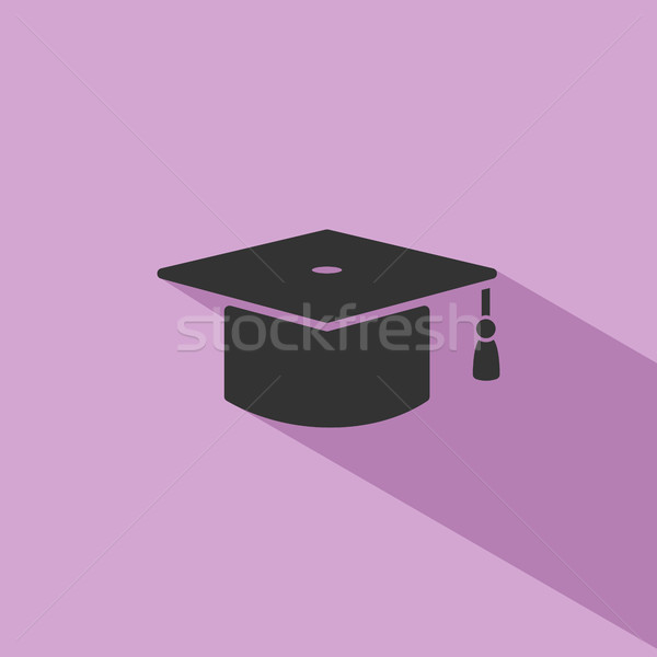 Mortarboard icon with shade on purple background Stock photo © Imaagio