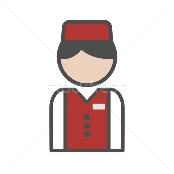 Bellboy icon with red uniform on white background Stock photo © Imaagio