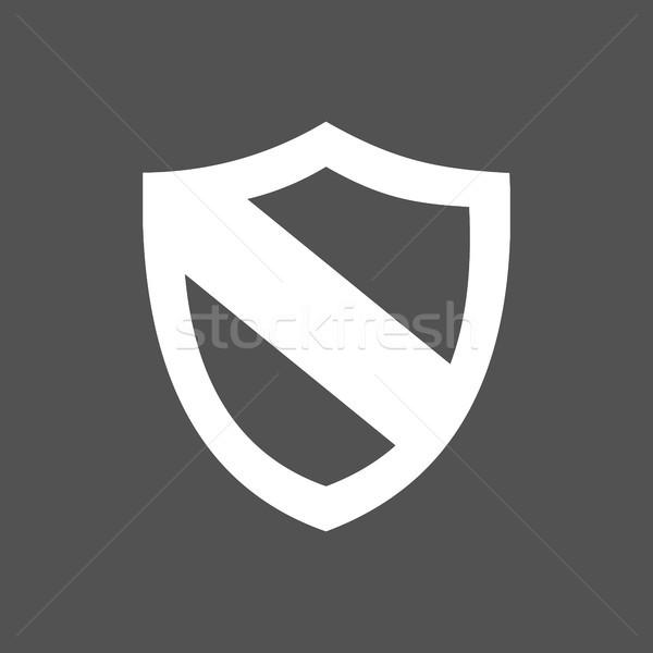 Protection shield icon on a dark background Stock photo © Imaagio