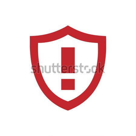 Warning shield icon with shade on red background Stock photo © Imaagio