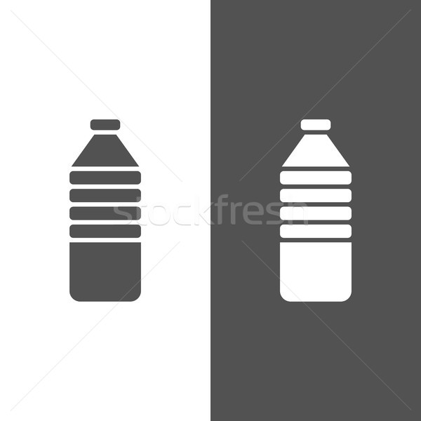 Water bottle icon on black and white background Stock photo © Imaagio