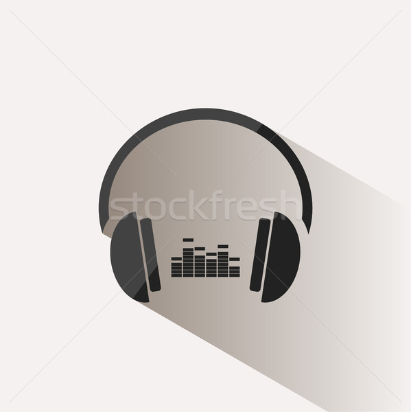 Headphones with music icon on beige background and shadow Stock photo © Imaagio