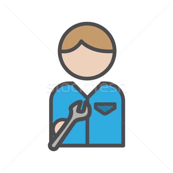 механиком икона инструменты синий равномерный женщину Сток-фото © Imaagio